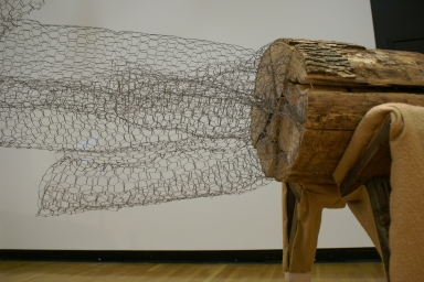 """""""Nothing is plumb, level or square"""" Chicken wire, carts, wheels, wood, wool. GVSU BFA Thesis Show: Spectre 2008"""