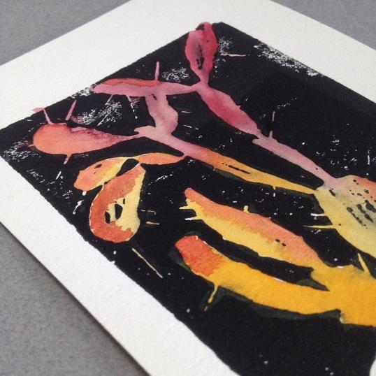 """""""Cactus (orange)"""" Woodblock Print, watercolor. 2016"""