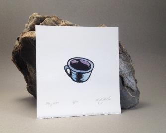 """Coffee (blue)"" Lino block print. 2017"