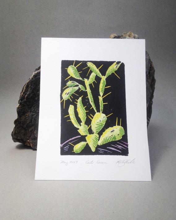 """""""Cactus (green)"""" Woodblock Print, watercolor. 2016"""