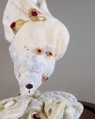 """""""White Shell Dome"""" Shell, base/dome, lace, beads, enamel. 2017"""