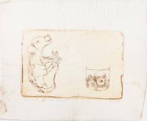 """Wonderbook Page 1"" Intaglio print on tracing paper. 2005"