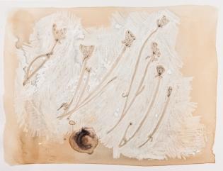 """""""Winter Weeds 2"""" Ink, tea, china marker, rust. 2017"""
