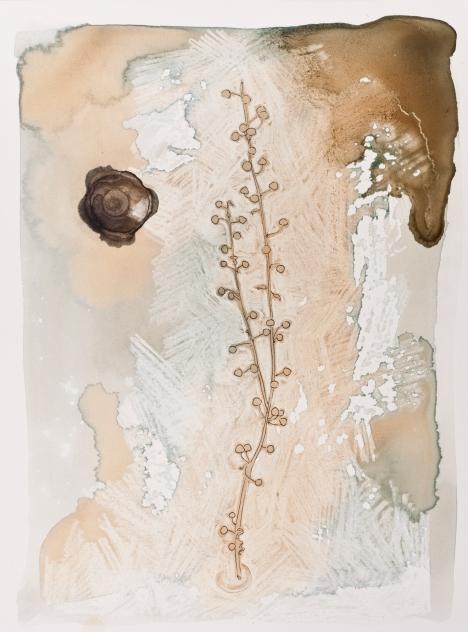 """""""Winter Weeds 1"""" Ink, tea, china marker, rust. 2017"""