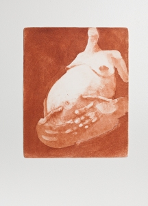 """With Child (red)"" Aquatint print. 2005"