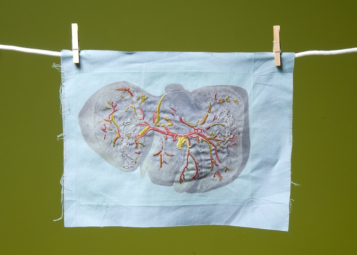 """""""I don't have a problem"""" Embroidery on inkjet printed cloth. 2005"""
