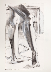 """""""Legs Study"""" Charcoal and gesso on paper. 2006"""