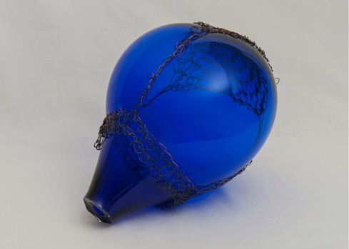 """Crochet and blown glass- Cobalt"" Copper wire, glass. 2013"