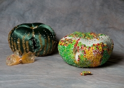 """""""Apples"""" Fabric, beads, found materials. 2003"""