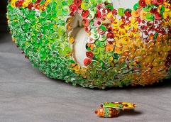 """""""Apples"""" Detail. Fabric, beads, found materials. 2003"""