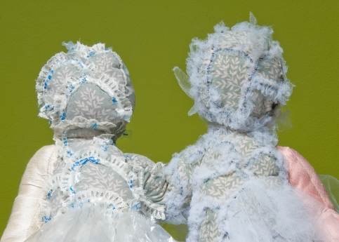 """""""Snow White and Rose Red"""" Detail. Fabric and plastics. 2005"""