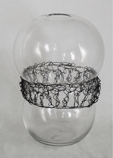 """""""Crochet and blown glass- Clear"""" Copper wire, glass. 2013"""