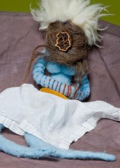 """Avatar"" Wool, beads, found materials. 2005"