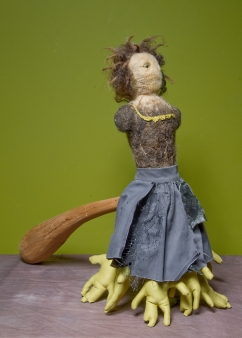 """""""The Other Mother"""" Cloak removed. Wool, fabric, wood, glass, plastics, found materials. 2005"""